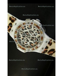 Hublot Big Bang White Zebra Bang Edition in White PVD Case 34MM Watch