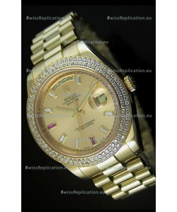 Rolex Day Date II 41MM Swiss Replica Watch - Gold Dial - 1:1 Mirror Replica Watch
