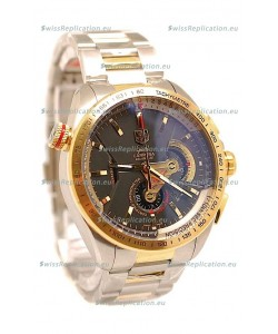 Tag Heuer Grand Carrera Calibre 36 Japanese Replica Two Tone Gold Watch in Black Dial