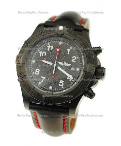 Breitling Chronograph Chronometre Japanese Replica PVD Watch in Black Strap