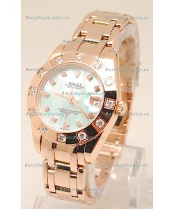 Rolex Datejust Swiss Replica Rose Gold Watch in Green Pearl Dial - 34MM