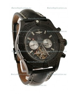 Breitling Chronometre Tourbillon Japanese Replica Watch in Black Strap
