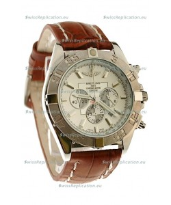 Breitling Chronograph Chronometre Japanese Replica Watch in Brown Strap