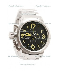 U-Boat Flightdeck Japanese Replica Steel Watch in Green Markers