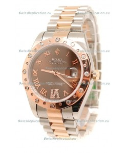 Rolex DateJust Mid-Sized Japanese Replica Rose Gold Watch