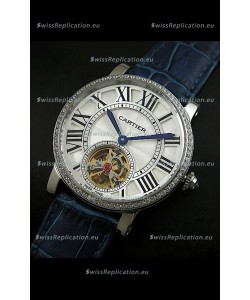 Cartier Ronde de Tourbillon Japanese Replica Diamond Watch in Blue Strap