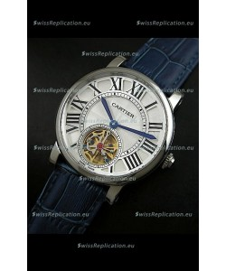 Cartier Ronde de Tourbillon Japanese Replica Watch in Blue Strap