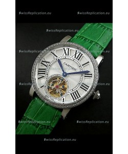 Cartier Ronde de Tourbillon Japanese Replica Diamond Watch in Green Strap