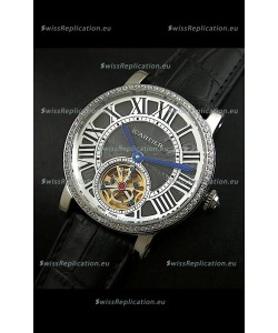 Cartier Ronde de Tourbillon Japanese Replica Diamond Watch in Black Dial