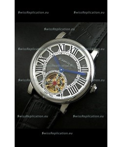 Cartier Ronde de Tourbillon Japanese Replica Watch in Black Dial