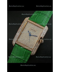 Cartier Tank Anglaise Ladies Replica Watch in Gold Case/Green Strap