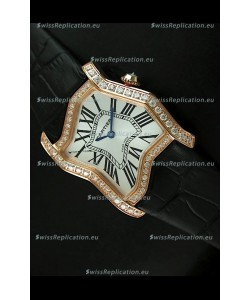 Cartier Tank Folle Ladies Replica Watch in Yellow Gold Case/Black Strap