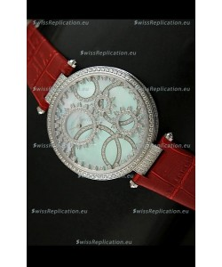 Cartier Replica Watch with Diamonds Embedded Dial Bezel in Steel Case/Red Strap