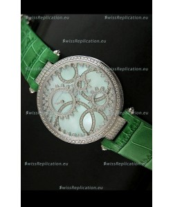 Cartier Replica Watch with Diamonds Embedded Dial Bezel in Steel Case/Green Strap