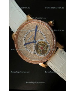 Ronde De Cartier Tourbillon Replica Watch Pink Gold Case - White Strap