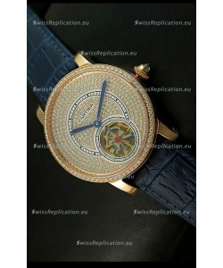Ronde De Cartier Tourbillon Replica Watch Pink Gold Case - Purple Strap