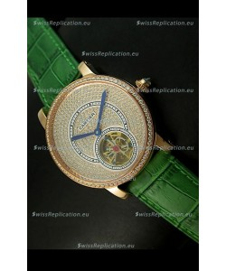 Ronde De Cartier Tourbillon Replica Watch Pink Gold Case - Green Strap