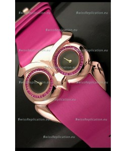 Chopard Animal World Ladies Owl Black Dial Watch in Pink Strap
