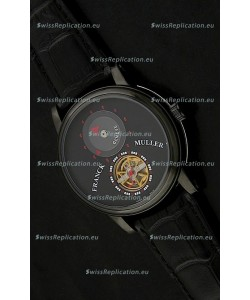 Franck Muller Classic Tourbillon Japanese Replica Watch in Black Strap