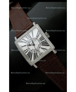 Franck muller Master Square Japanese Replica Watch in Brown Strap