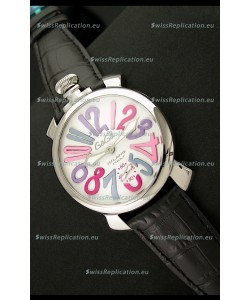 Gaga Milano Italy Japanese Replica Watch in Multi Color Arabic Markers