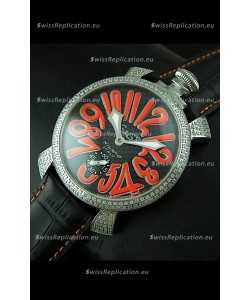 Gaga Milano Italy Manuale Replica Japanese Watch in Orange Markers