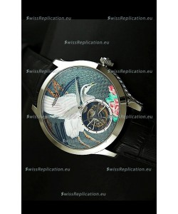 Jaeger LeCoultre Porcelain Crane Flying Tourbillon Watch - MIRROR REPLICA
