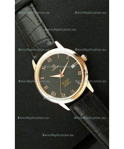 Omega DeVelie Co-Axial Chronometer Japanese Rose Gold Watch in Black Dial