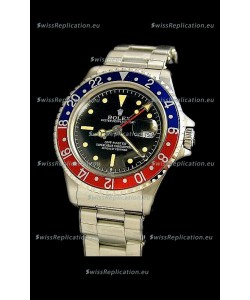Rolex GMT Master Swiss Replica Steel Watch in Black Dial