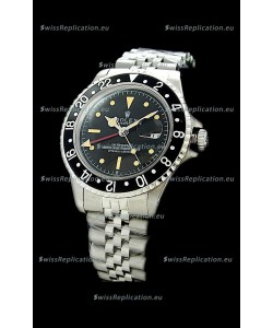 Rolex GMT Master Swiss Replica Steel Watch in Black Bezel