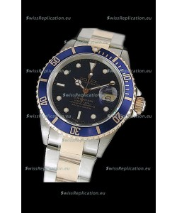 Rolex Submariner Japanese Watch in Blue Bezel Two Tone Case