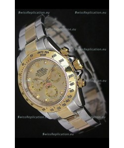 Rolex Daytona Japanese Replica Two Tone Gold Watch in Golden Dial