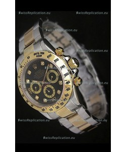 Rolex Daytona Japanese Replica Two Tone Gold Watch in Black Dial