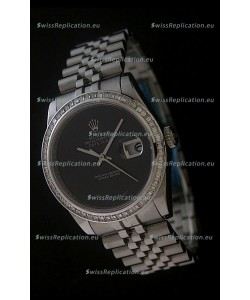 Rolex Datejust Japanese Replica Watch in Full Black Dial