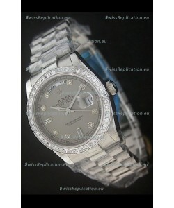 Rolex Day Date Just swiss Replica Grey Watch in Full Diamond Bezel