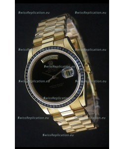 Rolex Day Date Just JapaneseReplica Yellow Gold Watch in Black Dial