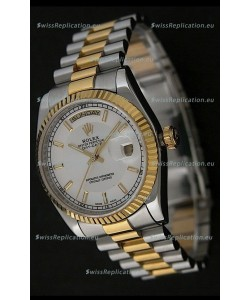 Rolex Day Date Just Japanese Replica Two Tone Gold Watch in White Dial