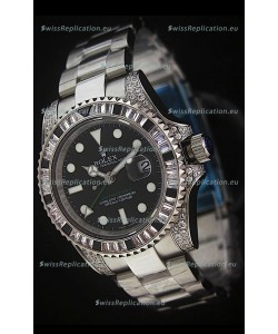 Rolex Pro-Hunter GMT Master II Swiss Replica Steel Watch in Diamond Bezel