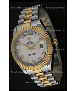 Rolex Day Date Just Japanese Replica Two Tone Gold Watch in White Stripe Pattern Dial
