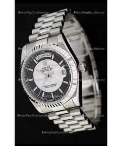 Rolex Day Date Just JapaneseReplica Watch in Black & White Dial