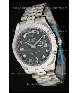 Rolex Oyster Perpetual Day Date Japanese Replica Watch in Black Mother of Pearl Dial