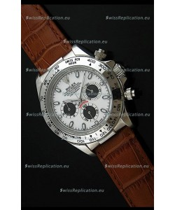 Rolex Daytona Japanese Replica Steel Watch in Black Subdials