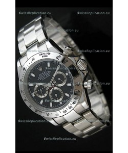 Rolex Daytona Japanese Replica Steel Watch in Black Dial