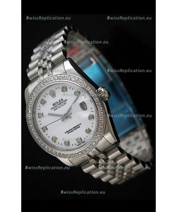 Rolex DateJust Japanese Mens Replica Silver Watch in Diamond Markers
