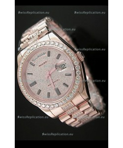 Rolex Day Date Japanese Automatic Rose Gold Watch in Ruby Stick Markers