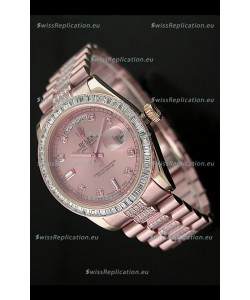Rolex Oyster Perpetual Day Date Swiss Rose Gold Automatic Watch in Rose Gold Dial