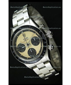 Rolex Cosmograph Daytona Swiss Replica Chronograph Watch in Cream Color Dial - 1:1 Mirror Replica