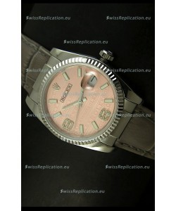 Rolex Replica Datejust Swiss Replica Watch - 37MM - Champange Dial/Grey Strap