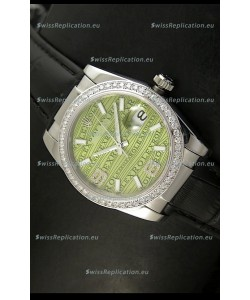 Rolex Replica Datejust Swiss Replica Watch - 37MM - Black Strap Green Dial