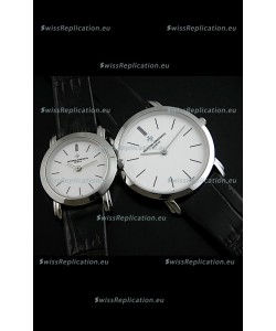 Vacheron Constantin Classical Couple Japanese Steel Watch in Leather Strap